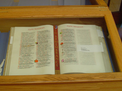The Book of Remembrance open in a display case